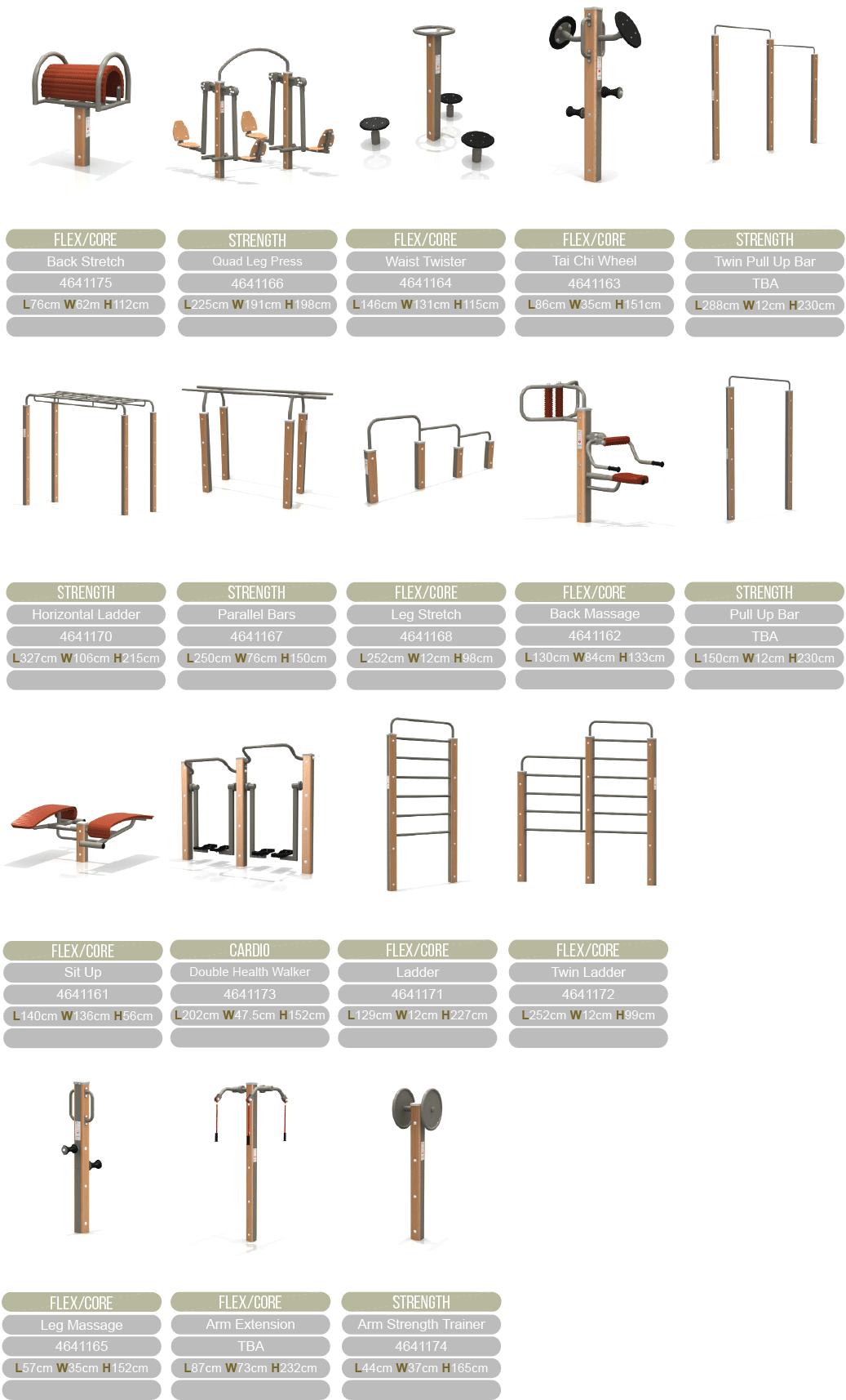 Natural fitness equipment range