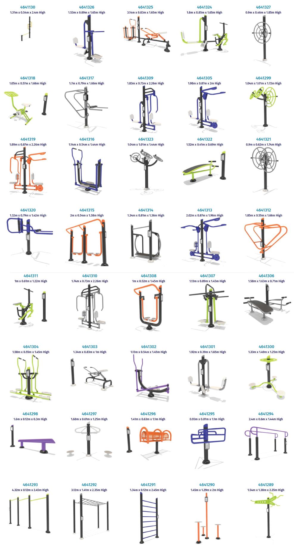 Standard outdoor fitness equipment